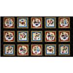 Frosty Friends Snowmen Block Panel Black