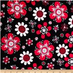 0302033 Laguna Stretch Cotton Jersey Flower Red