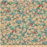0275769 Asian Peony Metallic Butterflies Teal