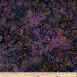 Bali Batiks Handpaints Floral Circles Grape