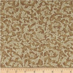 "110"" Wide Flannel Quilt Backing Leaf Ivory"