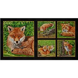 Red Foxes Panel Fox Blocks Black