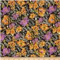 Jungle Safari Broadcloth Flowers Amber/Purple