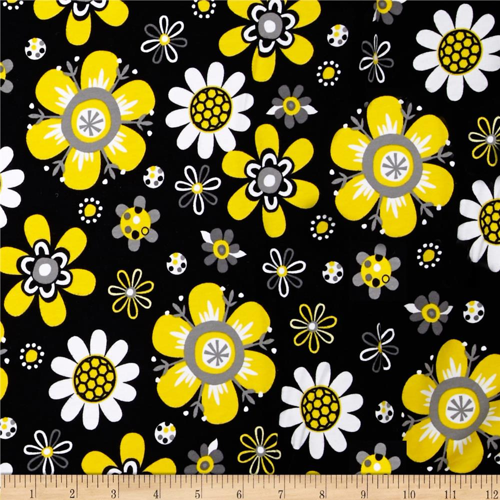 Laguna Stretch Cotton Jersey Flower Yellow