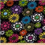 0262615 Fleece Flowers Black/Purple