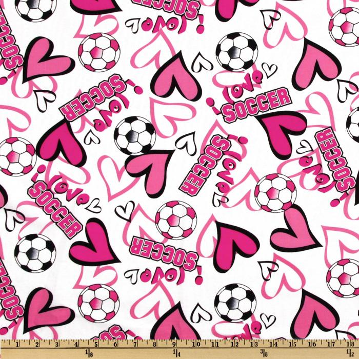 Timeless Treasures Soccer & Hearts Pink/White
