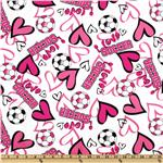 Timeless Treasure Soccer &amp; Hearts Pink/White