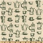 212246 Coffee Break Coffee Pot Toile Green
