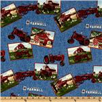 EF-983 Farmall International Harvester Tractor Squares Blue