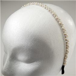 3/8'' Plaited Pearl and Bead Headband Crystal Aurora Borealis
