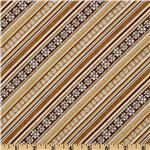FP-594 Jingle Bell Snowmen Diagonal Stripe Ivory/Tan