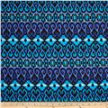 Designer Stretch Jersey Knit Abstract Ikat Blue