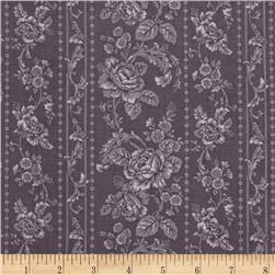 Pristine Floral Stripes Pewter Grey