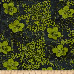 Bali Batiks Handpaints Asian Floral Keylime