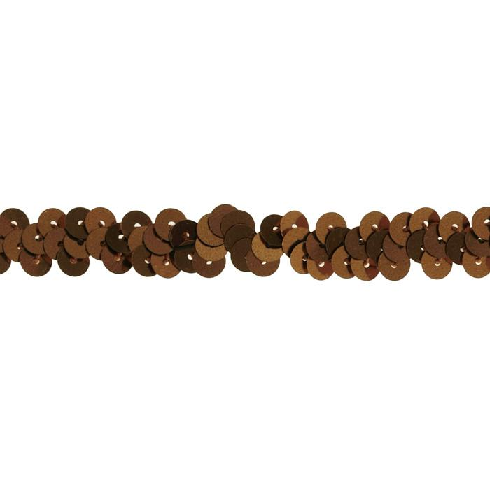 "3/8"" Stretch Metallic Sequin Trim Brown"