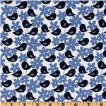 EZ-232 Get Together Birds With Flowers Navy/White