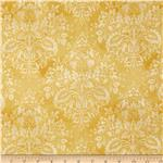 Tuscan Sunflowers Metallic Damask Cream