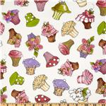 FA-508 Loralie Designs Hey Cupcake Tossed Cupcakes White