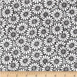 "110"" Wide Quilt Backing Daisy Black/White"