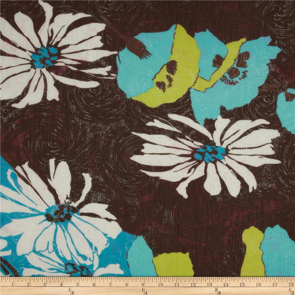Angeline Crinkle Chiffon Sparkle Blossom Brown/Teal