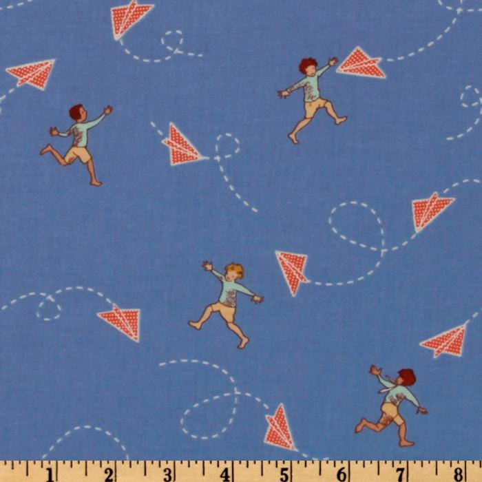 Michael Miller Children at Play Chasing Airplanes Blue
