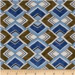 Onion Skin Knit Corner Squares Blue/Brown
