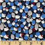 FI-022 Liberty Of London Tana Lawn Hello Kitty Kitty Apple Tree Blue