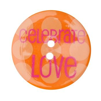 Novelty Button 1-3/8'' Celebrate Love Orange