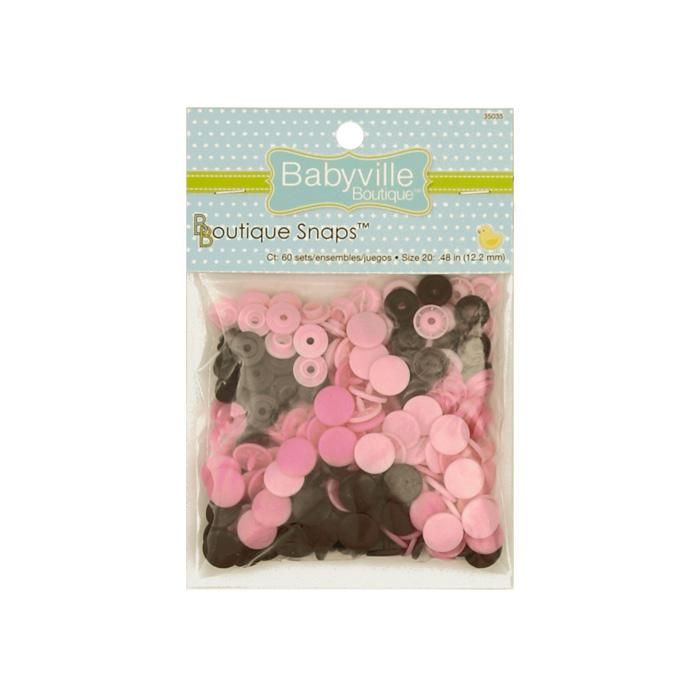 Babyville Boutique Snaps Mod Girl Flower Brown/Pink