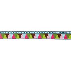 "7/8"" Amy Butler Mosaic Ribbon Brown/Pink/Green"