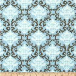 Minky Cuddle Romance Vine Damask Dusty Blue
