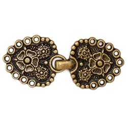 Buckle Flower Clasp 2 1/2'' Antique Brass