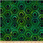 0290058 Indonesian Batiks Pop Art Hexagon Stripe Green