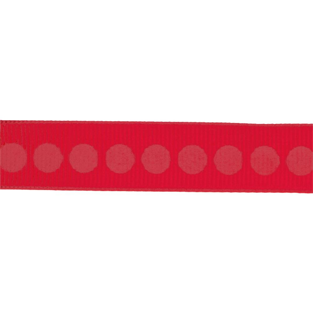 Riley Blake 5/8&quot; Grosgrain Ribbon Polka Dot Red
