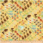0270136 Tomodachi Tossed Animals & Flowers Yellow