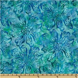 108'' Wide Tonga Batik Quilt Backing Large Floral Turquoise