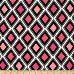 Rayon Challis Diamonds Pink/Grey