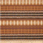 Stretch Rayon Jersey Knit Ikat Stripes Rust/Burgundy