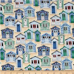 Coastal Beach Huts Blue