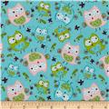 Camelot Flannel Whoo's Cute Owls Blue