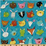 FK-579 Kokka Animal Party Animal Faces Blue