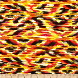 Rayon Challis Abstract Diamond Orange/Yellow/Black
