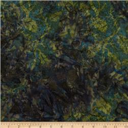 Moda Paint Box Batiks Oak Leaf Midnight Green