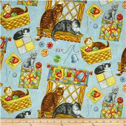 Purrfect Notions Cats & Sewing Blue