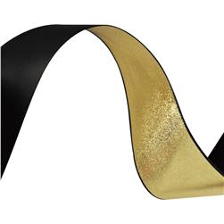 1 1/2'' Reversible Satin Ribbon Metallic Gold/Black