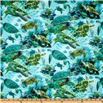 DX-071 Timeless Treasures Nautical Sea Turtle Turquoise