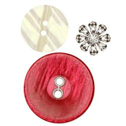 Fashion Buttons 1/2'', 7/8'', 1 1/4'' Coordinates Burgundy/White/Silver