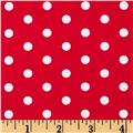 Riley Blake Flannel Medium Dots Red/White