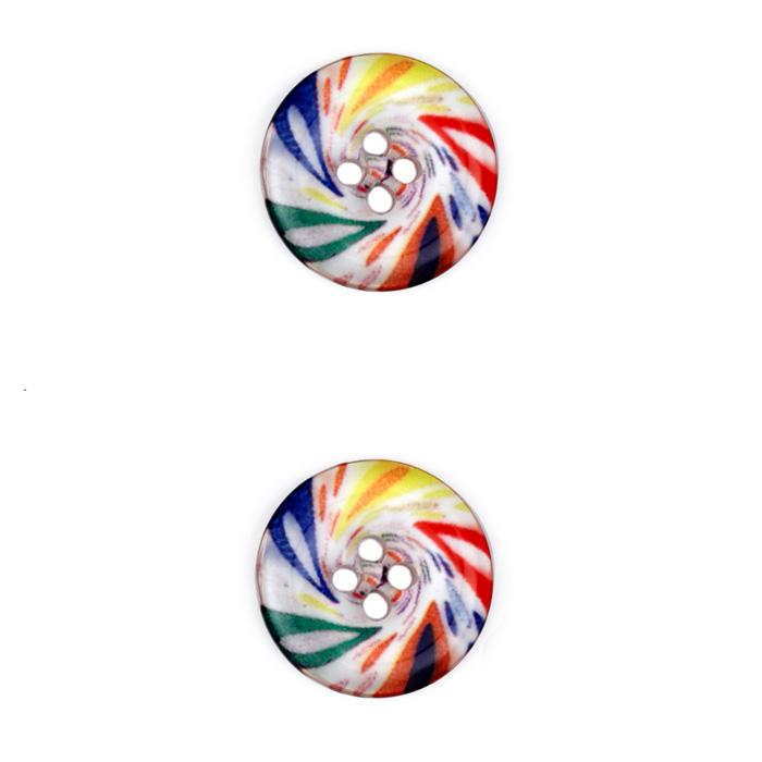 Novelty Button 3/4'' Spin Art Multi