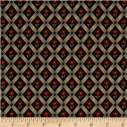 Scarlet Evening Diagonal Flower Black